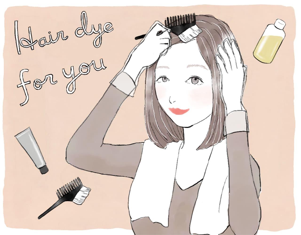 白髪染めをする女性